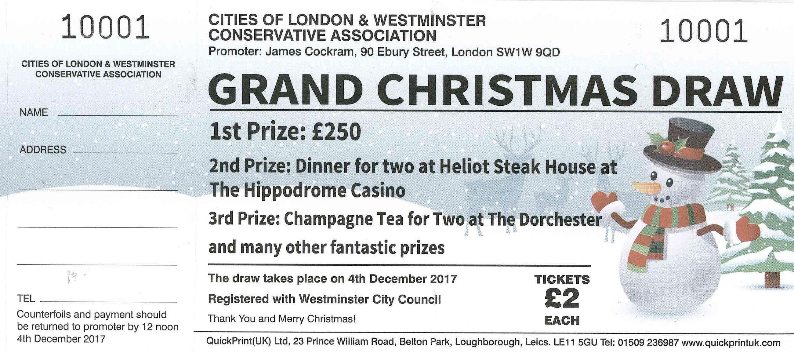 CLWCA Grand Christmas Draw | Cities of London & Westminster